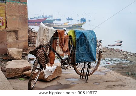 Laundry Drying On Bicycle Near Ganga River In Harishchandra Ghat. Varanasi