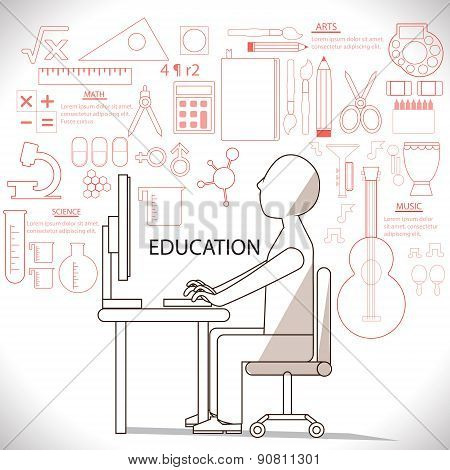Flat Linear Infographic Of Man Studying In Many Suject Such As Art And Sciene. It Is An Education Co
