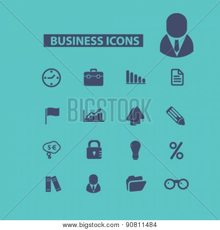 business, management, office icons, signs, illustrations set, vector