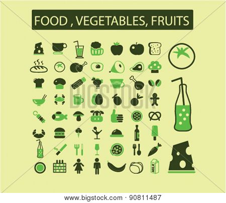 food, fruits, vegetables, drink, grocery icons, signs, illustrations set, vector