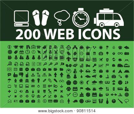 200 web internet icons, signs, illustrations set, vector