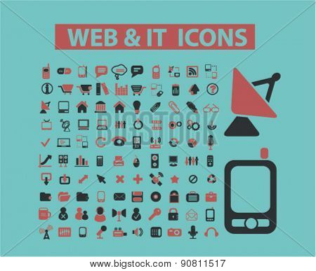 web, internet technology, communication icons, signs, illustrations set, vector