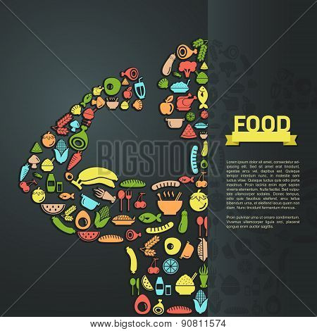 Human Food Icon In Infographic Background Layout Design, Create By Vector
