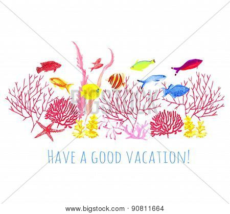Wishing A Good Vacation Watercolor Vector Design Set