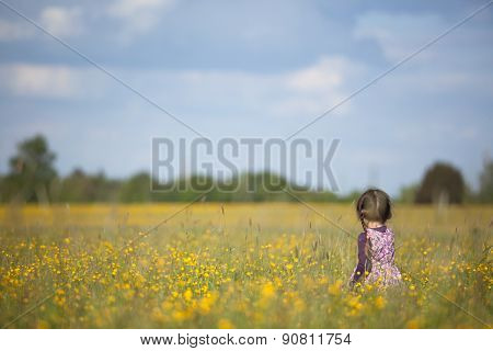 Young Girl Walking Through Field Of Yellow Flowers