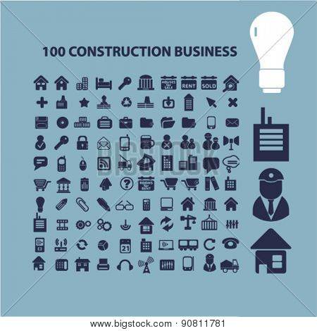 100 construction business icons, signs, illustrations set, vector