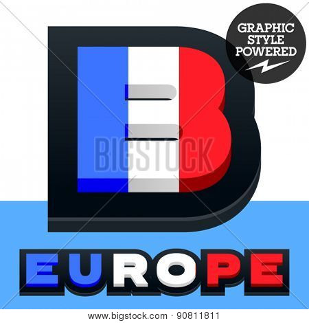 Vector set of French flag alphabet. File contains graphic styles available in Illustrator. Letter B