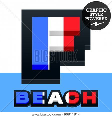 Vector set of French flag alphabet. File contains graphic styles available in Illustrator. Letter F