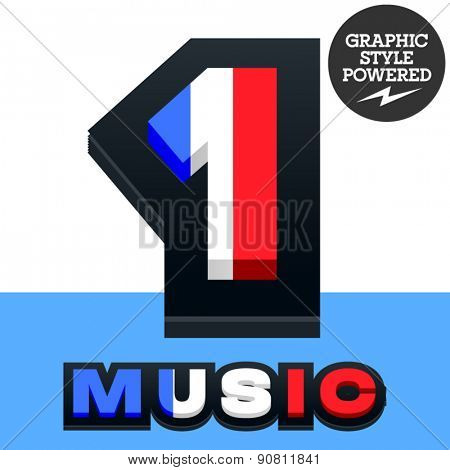 Vector set of French flag alphabet. File contains graphic styles available in Illustrator. Number  1