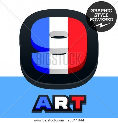 Vector set of French flag alphabet. File contains graphic styles available in Illustrator. Number  9