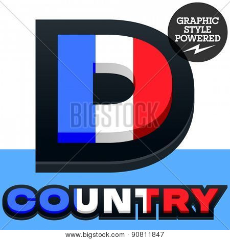 Vector set of French flag alphabet. File contains graphic styles available in Illustrator. Letter D