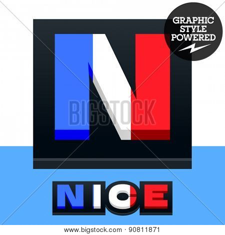 Vector set of French flag alphabet. File contains graphic styles available in Illustrator. Letter N