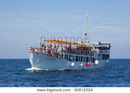 Crowded Ferry Boat Off Coast Of Rovinj, Croatia