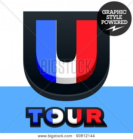 Vector set of French flag alphabet. File contains graphic styles available in Illustrator. Letter U