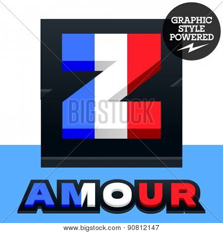 Vector set of French flag alphabet. File contains graphic styles available in Illustrator. Letter Z