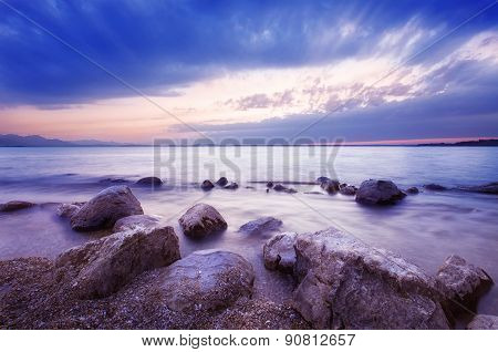 Shoreline And Dramatic Clouds Over Lake Chiemsee