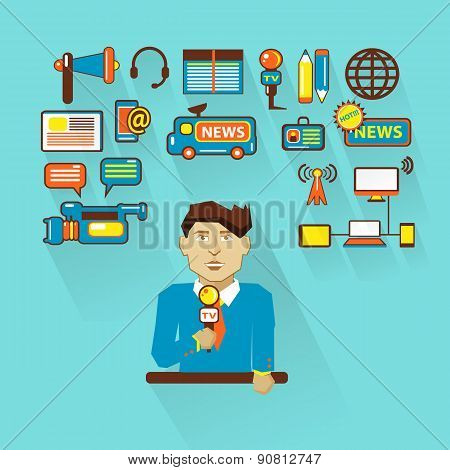 Profession Of People. Flat Infographic.  Interviewer