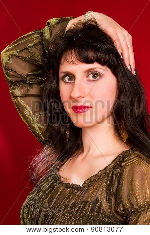 Brunette In Elegant Dress