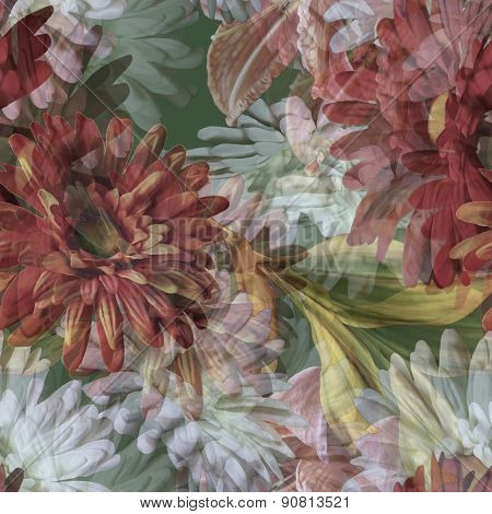 art vintage floral seamless pattern with purple red and white gerbera on green background. Double Exposure effect