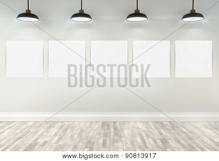 3D Blank Posters In Room With Ceiling Lamps