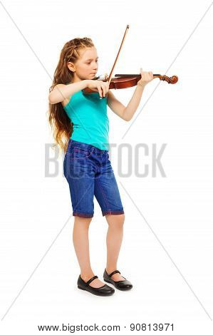 Standing girl holding string and playing violin