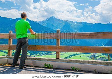 Young tourist and alpine landscape, Austria, Alps