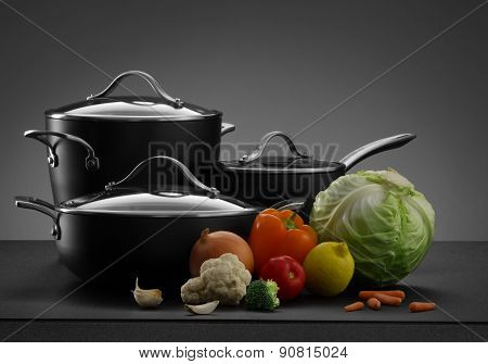 pots and vegetables