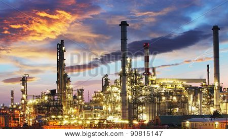 Oil and gas industry - refinery at twilight - factory