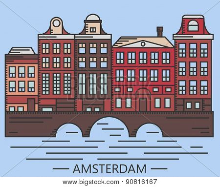 Old Amsterdam Holland houses on bridge set vector line drawn illustration