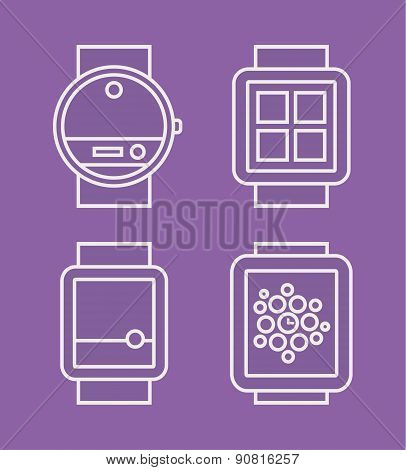 Wrist Watch Phone, flat white line drawn icon, vector illustration