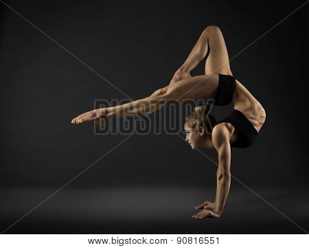 Acrobat Performer, Circus Woman Hand Stand, Gymnastics Back Bend
