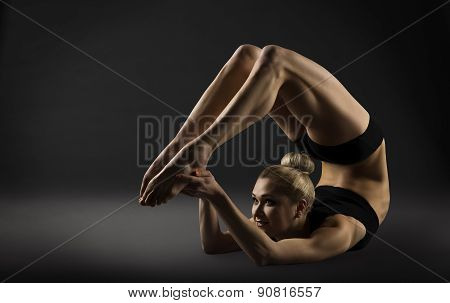 Back Bend Stretching Posture, Bending Woman Acrobat Gymnastics, Sporty Girl Fitness Training