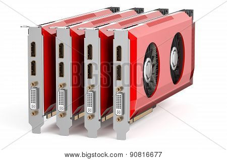 Set Of Red Video Cards