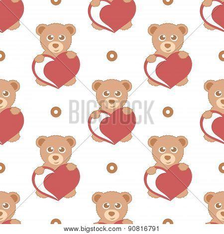 cartoon teddy bear with heart seamless pattern