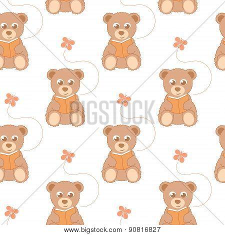 cartoon teddy bear seamless background