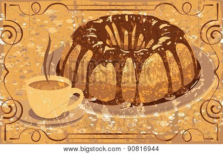 Cake With Glaze And A Cup Of Hot Drink. Grunge