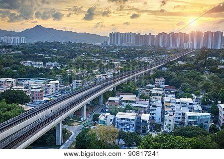Long Ping, hong kong urban downtown and sunset speed train at night