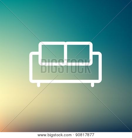 Furniture sofa icon thin line for web and mobile, modern minimalistic flat design. Vector white icon on gradient mesh background.