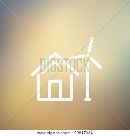House with windmill icon thin line for web and mobile, modern minimalistic flat design. Vector white icon on gradient mesh background.