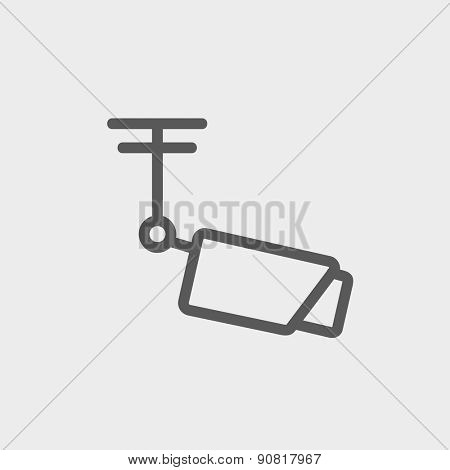 Rooftop antenna icon thin line for web and mobile, modern minimalistic flat design. Vector dark grey icon on light grey background.