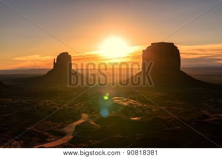 Beautiful sunrise over Monument Valley, Arizona