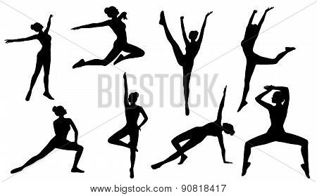Silhouette Poses, Woman Aerobics Fitness On White Background, Set Of People Figures Exercise, Sport
