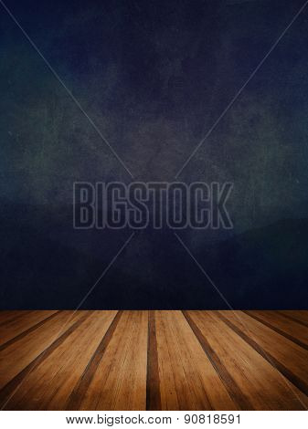 Retro Grunge Texture Background With Wooden Floor Platform Foreground