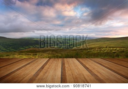 Countryside Landscape Panorama Image Across To Mountains With Wooden Planks Floor
