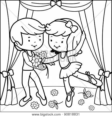 Coloring page ballerina girl dancing on stage