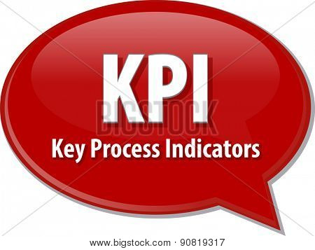 word speech bubble illustration of business acronym term KPI Key Process Indicators