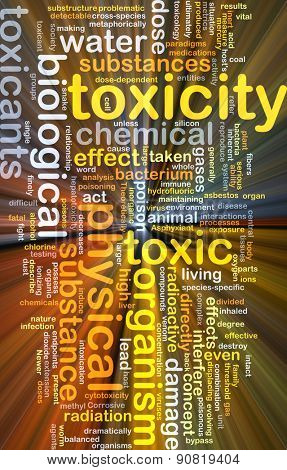 Background concept wordcloud illustration of toxicity glowing light