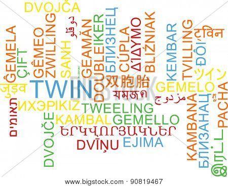Background concept wordcloud multilanguage international many language illustration of twin