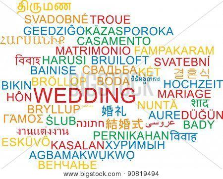 Background concept wordcloud multilanguage international many language illustration of wedding