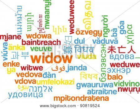 Background concept wordcloud multilanguage international many language illustration of widow